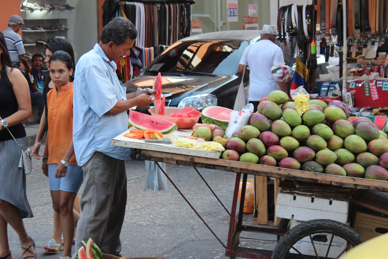 Fruit carts in Cartagena Colombia