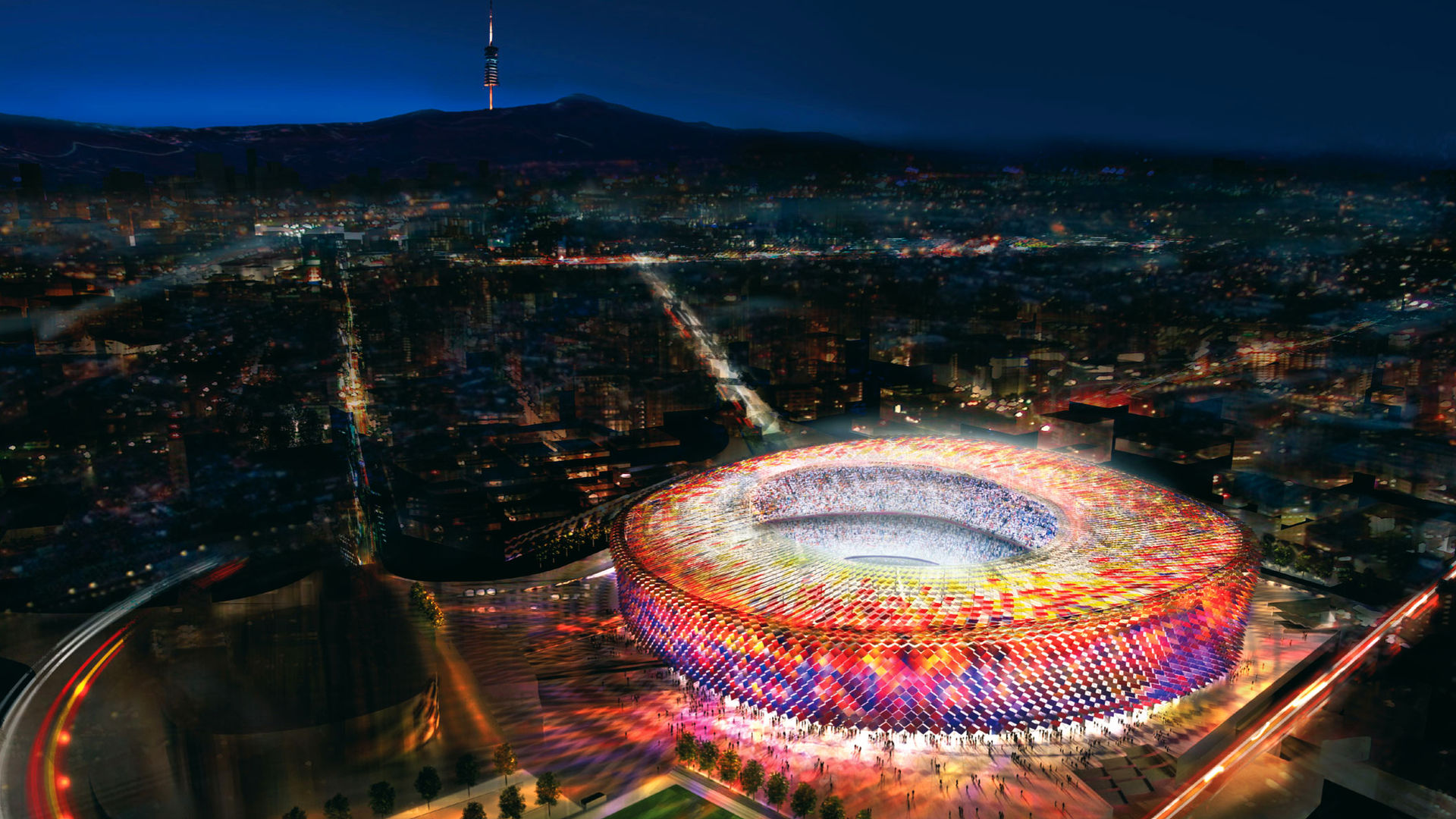 Camp nou at night, Barcelona